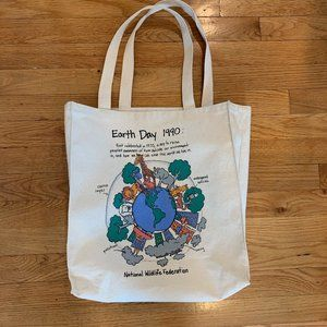 Vintage 90s Earth Day canvas structured tote